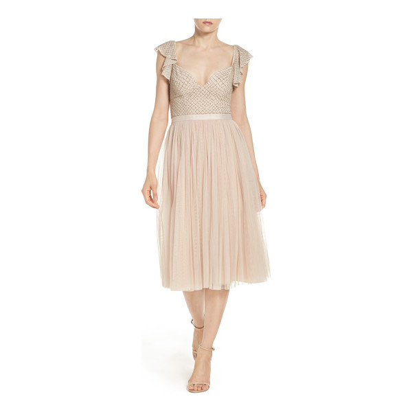 NEEDLE & THREAD tulle midi dress - This low-cut evening dress shimmers in beaded latticework...