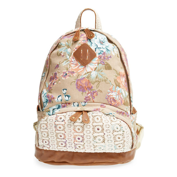 NILA ANTHONY Floral print backpack - Lace and faux-leather accents add vintage sophistication to...