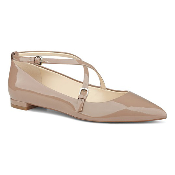 NINE WEST anastagia pointy toe flat - Curved, slender straps crisscross the vamp of a patent...