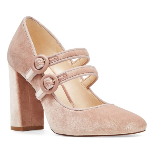 NINE WEST dabney double strap mary jane pump - Dual mary-jane straps with tonal buckles secure a preppy...