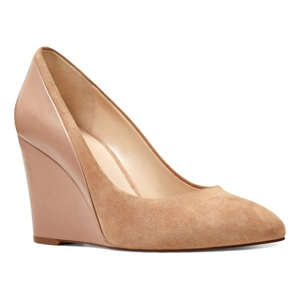 NINE WEST daday wedge - A covered wedge adds dramatic height to a versatile pump in...