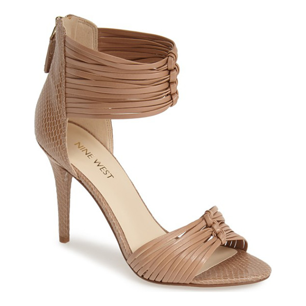 NINE WEST dechico ankle cuff sandal - Slender knotted straps and subtle snake embossing lend this...
