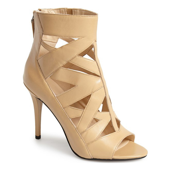 NINE WEST delphina bootie - Angular cutouts provide a fierce update to an open-toe cage...