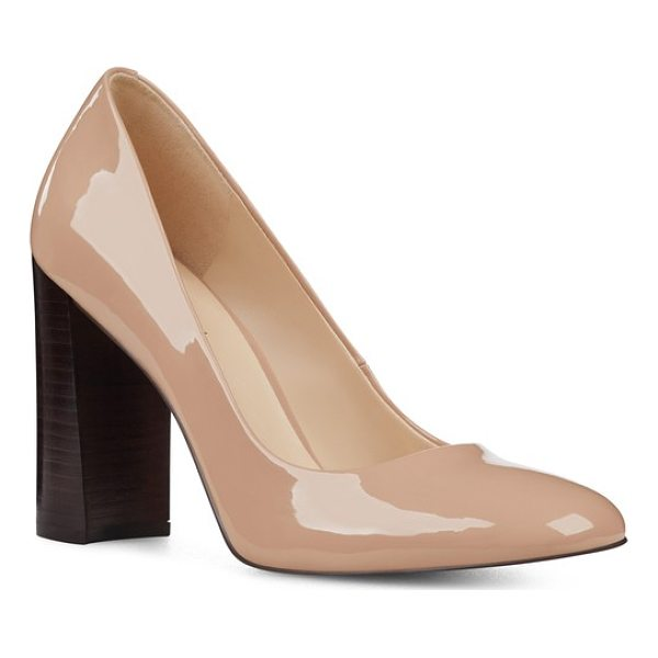NINE WEST denton block heel pump - Step out in style with a graceful almond-toe pump set on a...
