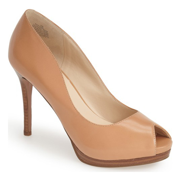 NINE WEST first base peep toe leather pump - A smooth leather construction and sleek curves define an...