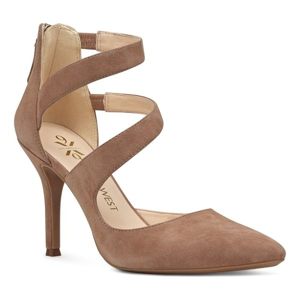 NINE WEST florent asymmetrical strappy pump - Twin tapered straps swoop gracefully up the front of a...
