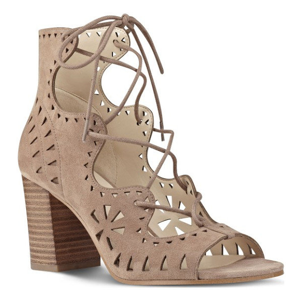 NINE WEST gweniah ghillie lace gladiator sandal - Gorgeous geometric cutouts provide a beautiful counterpoint...