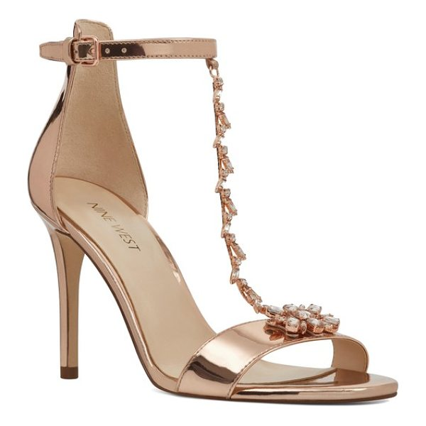 NINE WEST mimosana t-strap sandal - Crystals artfully decorate the slim T-strap of an elegant...