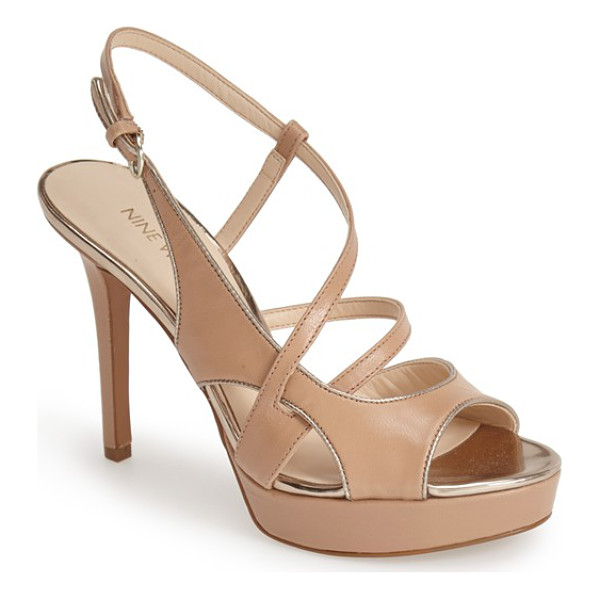 NINE WEST so true leather platform sandal - Layered, asymmetrical straps add interest to a supple...