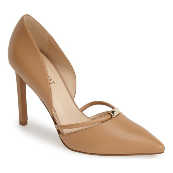 NINE WEST take it ez leather dorsay pump - A floating ring strap anchored by gleaming goldtone...