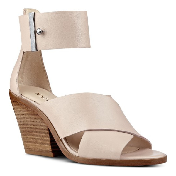 NINE WEST yannah block heel sandal - Wide leather straps enhance the contemporary appeal of a