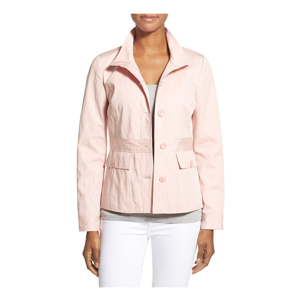 NORDSTROM COLLECTION belt detail fitted cotton jacket - An inset panel with button-tab details gives the illusion...