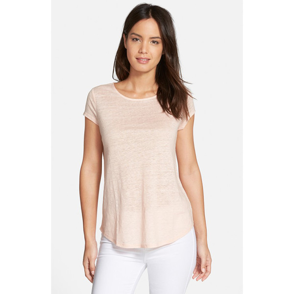 NORDSTROM COLLECTION cap sleeve linen tee - A slubbed knit of fine linen brings light and breathable...