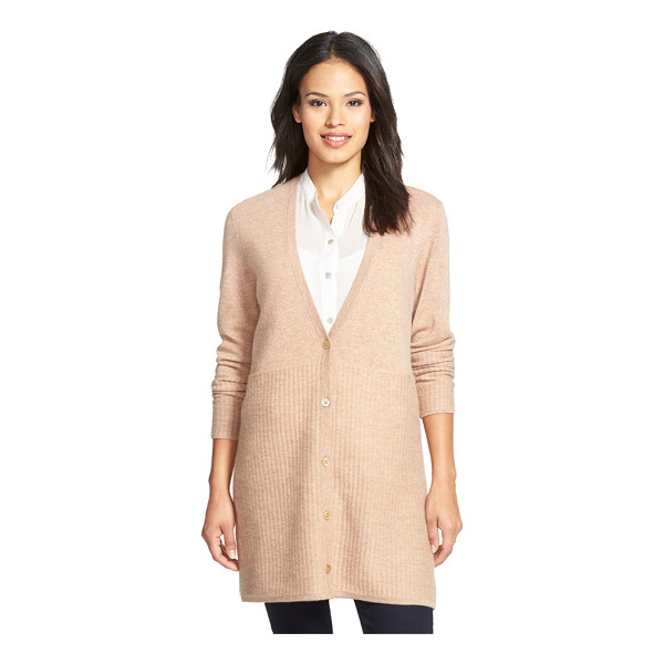 NORDSTROM COLLECTION stitch detail long button front cashmere cardigan - A switch in stitching from fine-gauge to ribbing brings...