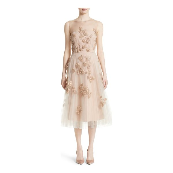 NORDSTROM X CAROLINA HERRERA carolina herrera sequin leaf tulle midi dress - Glossy beads and shimmering sequins trace a delicate leaf...