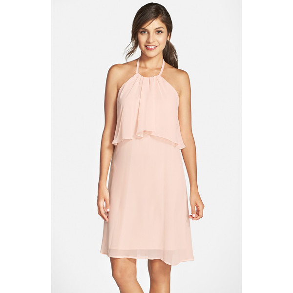 NOUVELLE AMSALE 'suki' chiffon halter dress - A rippling bodice overlay adds trend-right popover style to...