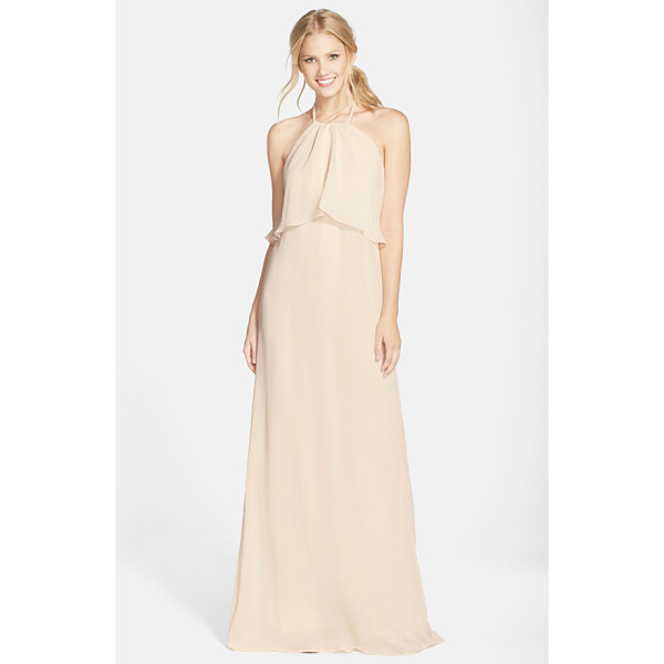 NOUVELLE AMSALE 'cait' chiffon halter gown - Flowing swaths of fabric overlay the cutaway bodice to...