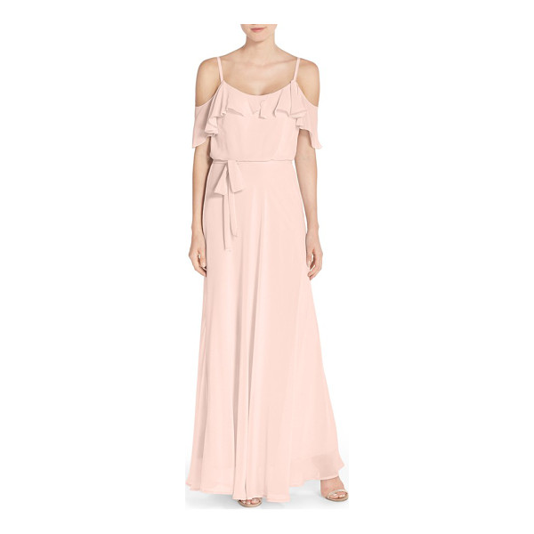 NOUVELLE AMSALE cold shoulder a-line chiffon gown - Timeless and romantic, a floaty chiffon gown enchants with...