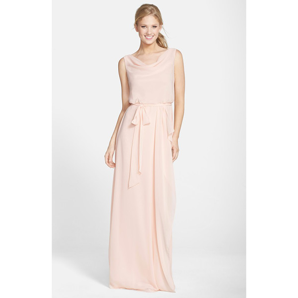 NOUVELLE AMSALE 'kim' drape neck wrap skirt chiffon gown - A gracefully draped neckline, blousy top and slender...
