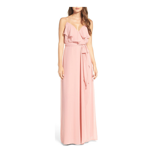 NOUVELLE AMSALE drew ruffle front chiffon gown - Soft and romantic, this blush-hued gown in silky chiffon...
