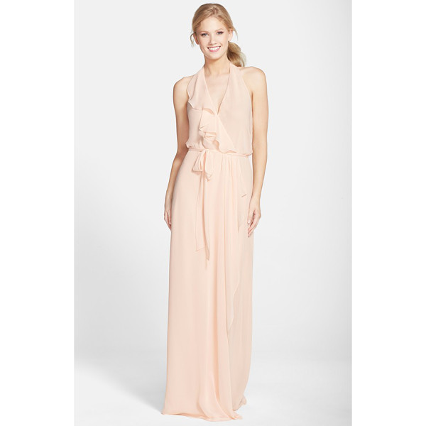 NOUVELLE AMSALE 'erica' ruffle chiffon halter neck wrap gown - A cascading ruffle emphasizes the flattering wrapped front...