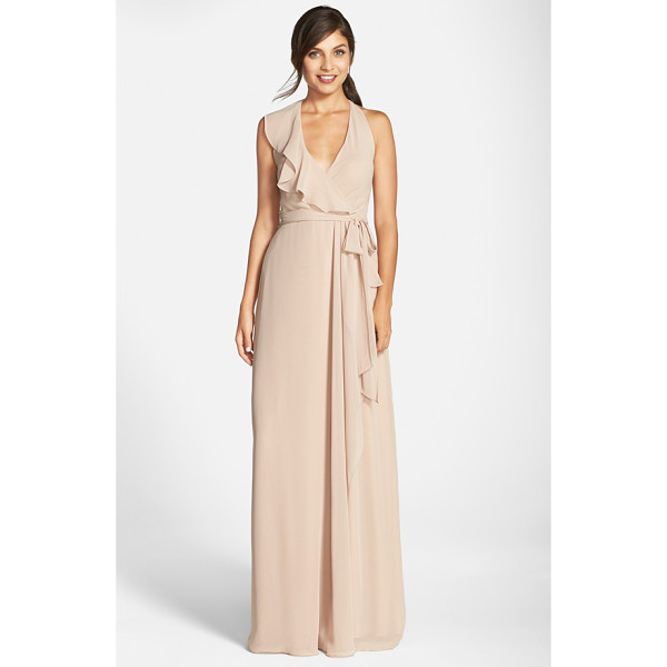 NOUVELLE AMSALE long chiffon wrap dress - A cascading ruffle emphasizes the flattering wrapped front...