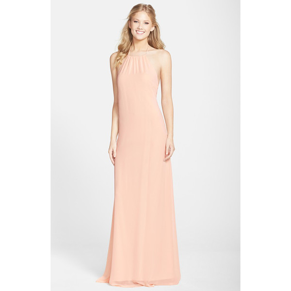 NOUVELLE AMSALE 'jordan' open back chiffon halter gown - Simple and sultry, this A-line gown tethered to halter ties...