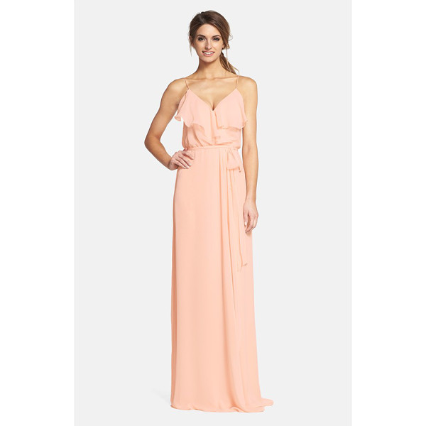 NOUVELLE AMSALE 'drew' ruffle front chiffon gown - Soft and romantic, this blush-hued gown in silky chiffon...