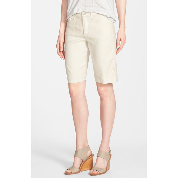 NYDJ catherine linen blend bermuda shorts - A lightweight linen blend infused with stretch lends...