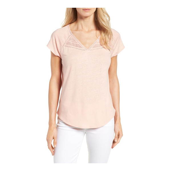 NYDJ lace trim linen blend tee - A bit of lacy trim at the V-neck and raglan seams dolls up...