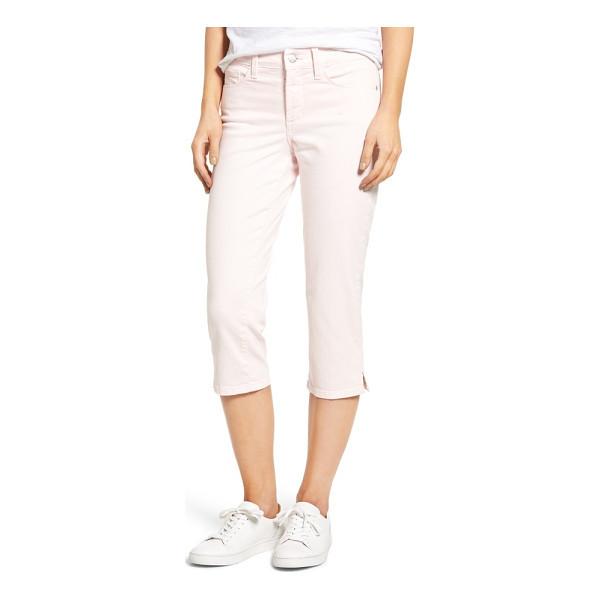NYDJ marilyn stretch cotton crop pants - Slim, straight legs with slit cropped hems define the...