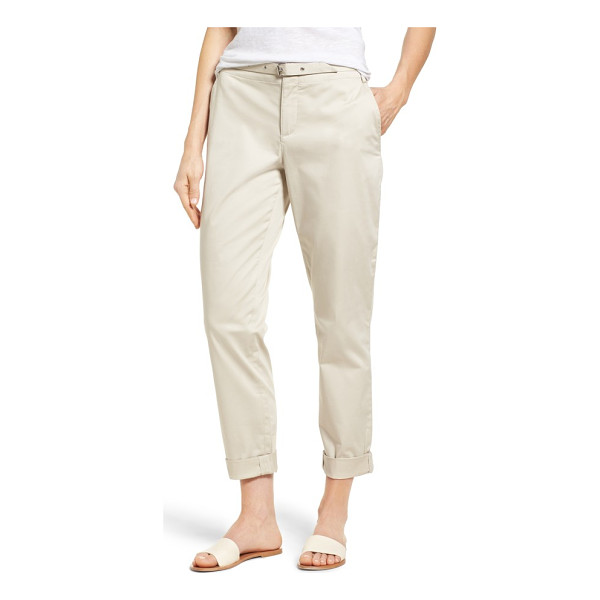 NYDJ roll cuff ankle pants - Rolled hems keep them casual while a soft belt adds a bit...