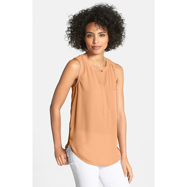 NYDJ sleeveless henley blouse - An airy blouse is fashioned with a hidden-button placket...