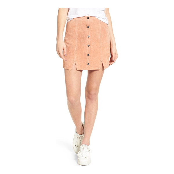 OBEY soho suede skirt - Dual vents show a playful hint of leg as you stroll city...