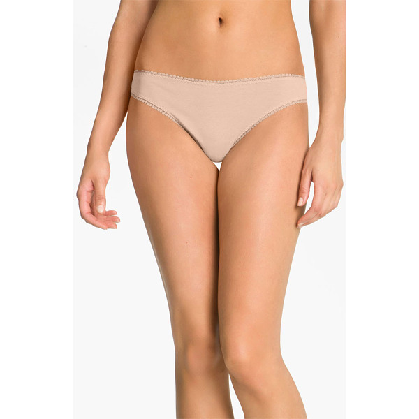 ON GOSSAMER 'cabana' cotton thong - Lacy openwork trim edges the waist and leg openings of a...