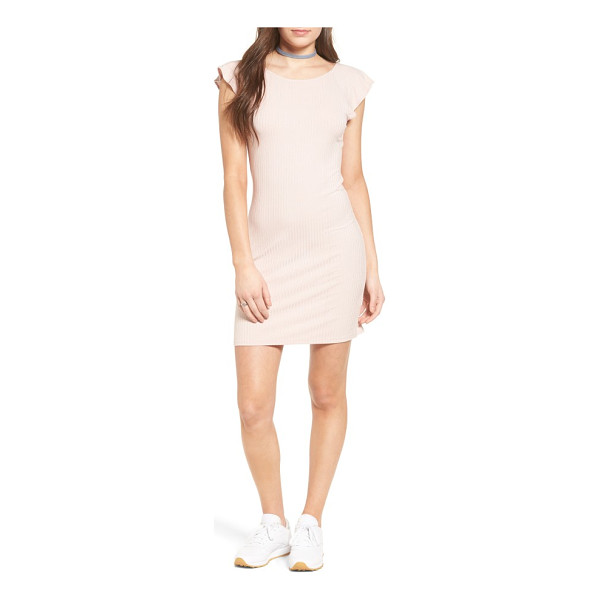 ONE CLOTHING ruffle trim ribbed body-con dress - Ribbed stretch jersey flaunts curves in a casual cap-sleeve...