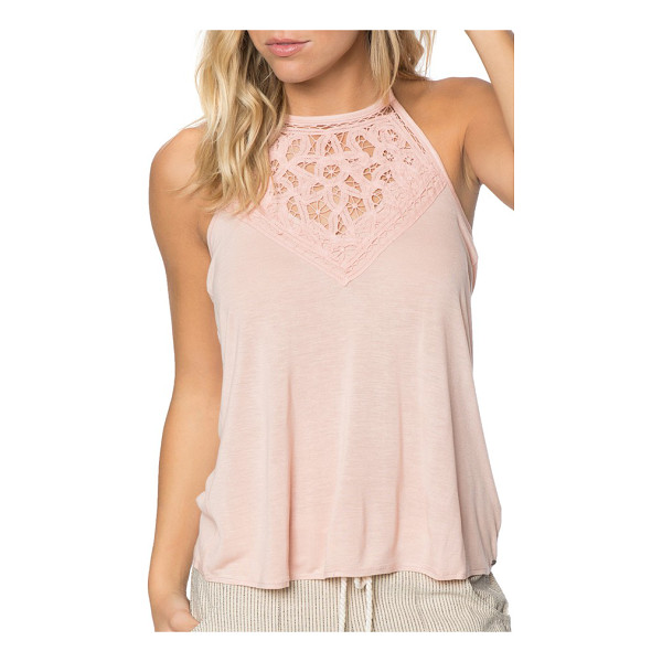 O'NEILL dya halter top - Delicate floral lace enhances this knit halter top, adding...