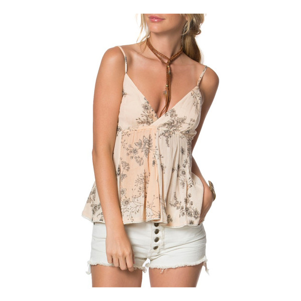 O'NEILL vita babydoll tank - Delicate sprays of flowers add romantic embellishment to...