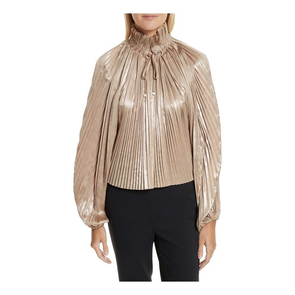 OPENING CEREMONY foil pleated top - Billowy bishop sleeves and a glittering metallic sheen...