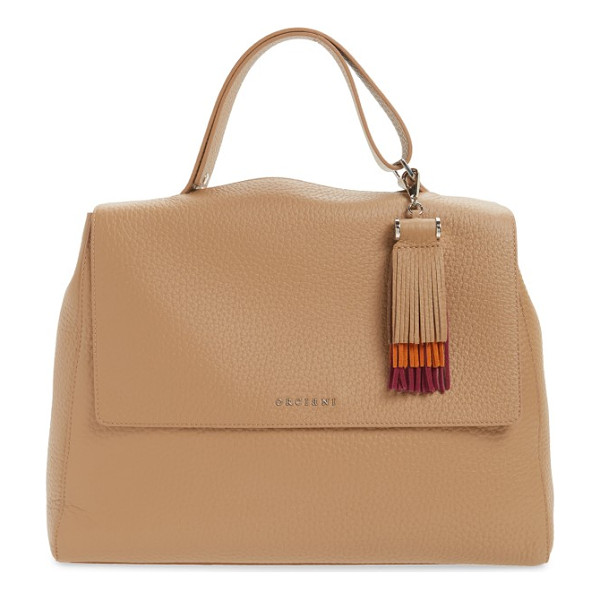 ORCIANI double leather top handle satchel & tassel bag charm - Clean, minimalist design elevates the aesthetic of a...