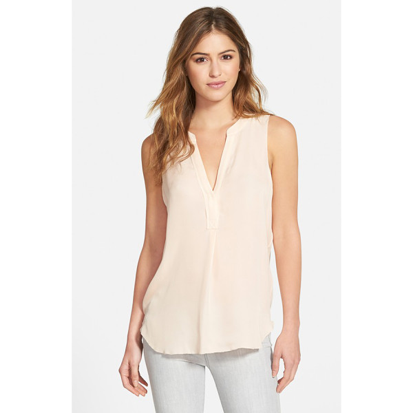 PAIGE flynn sleeveless silk top - A sleeveless, split-neck top woven from sumptuous silk is...
