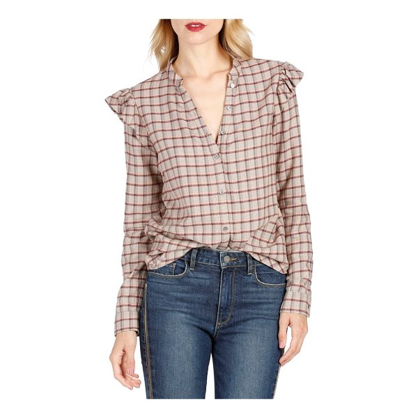 PAIGE jenelle ruffle plaid shirt - Ruffles at the shoulders add on-trend appeal to a...