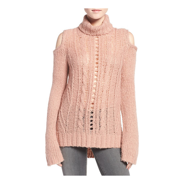 PAM & GELA cold shoulder cable knit sweater - Loosely knit and incredibly textured, this daringly sheer...