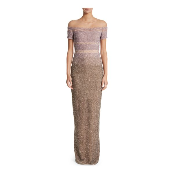 PAMELLA ROLAND signature sequin column gown - Thousands of scintillating degrade sequins blanket a...