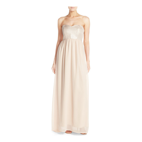 PAPER CROWN by lauren conrad breanna lace bodice crepe gown - A lovely Empire-waist gown begins with a sweetheart...