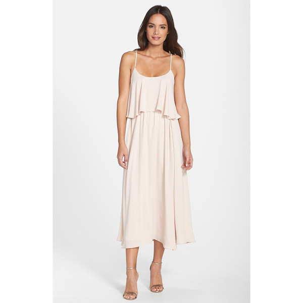 PAPER CROWN by lauren conrad 'britton' ruffled tea length crepe dress - A two-tiered design with a ruffled bodice overlay brings...