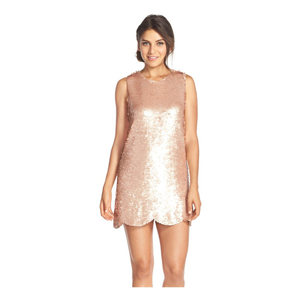 PAPER CROWN by lauren conrad cambria scalloped hem paillette minidress - Shimmering paillettes catch the light on a sweetly...