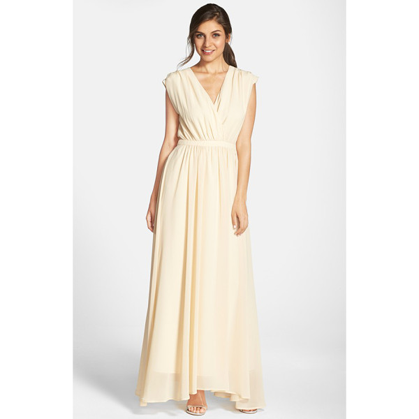 PAPER CROWN by lauren conrad jillian sleeveless surplice chiffon gown - Lavishly gathered at the inset waist, an ethereal chiffon...