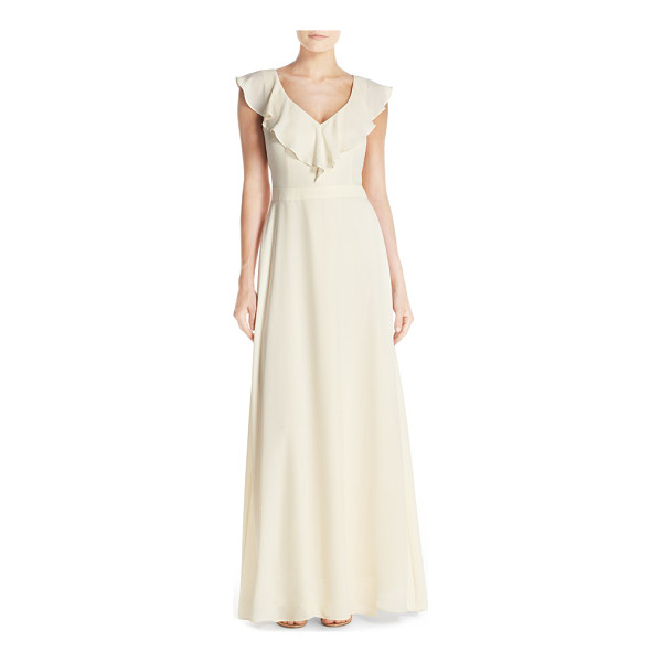 PAPER CROWN by lauren conrad print crepe ruffle v-neck gown - Utterly feminine and completely flattering, a sleeveless...