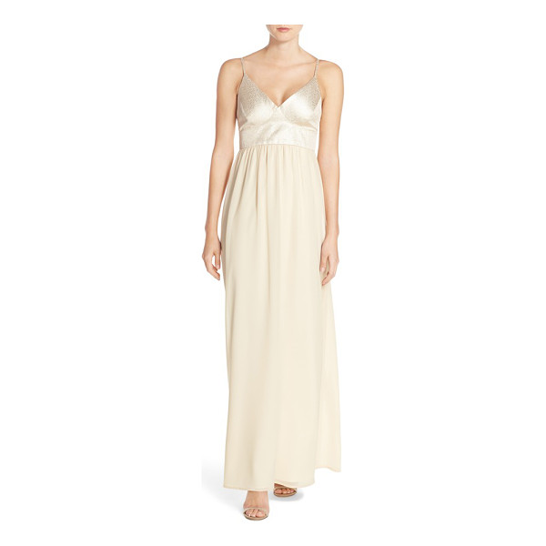 PAPER CROWN by lauren conrad shimmer bodice chiffon v-neck gown - A shimmering triangle-cup bodice over a soft chiffon skirt...